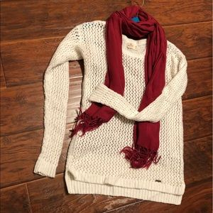 Hollister White Cable Knit Sweater